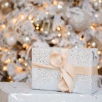White Gift with White Christmas Tree